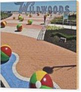 Wildwood's Sign, Boardwalk Wildwood, Nj. Copyright Aladdin Color Inc. Wood Print