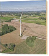 Wind Turbines In Suwalki. Poland. View From Above. Summer Time. Wood Print