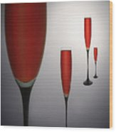 Wine Glasses With Red Wine Wood Print