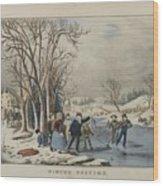 Winter Pastime Wood Print