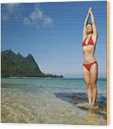 Woman Doing Yoga Wood Print by Kicka Witte - Printscapes