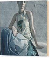 Woman In Ash And Blue Body Paint Wood Print