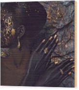 Woman In Splattered Golden Facial Paint Wood Print