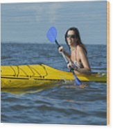 Woman Kayaking Wood Print