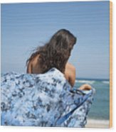 Woman On Beach Wood Print