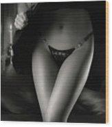 Woman Wearing Black Lacy Panties Wood Print by Oleksiy Maksymenko
