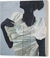 Woman With Black Boby Paint In Paper Dress Wood Print