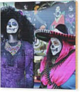 2 Women Day Of The Dead  Wood Print