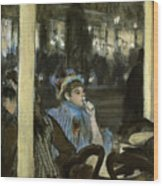 Women On A Cafe Terrace Wood Print