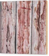 Wood Background With Faded Red Paint Wood Print