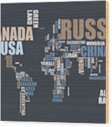World Map In Words Wood Print