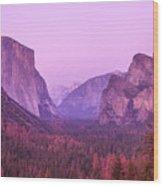 Yosemite Pink Sunset Wood Print