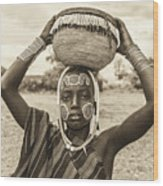 Young Boy From The African Tribe Mursi, Ethiopia Wood Print