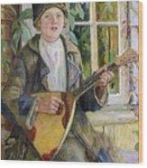 Young Boy With A Balalaika Nikolai Petrovich Bogdanov-belsky Wood Print