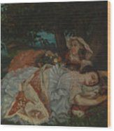 Young Ladies On The Bank Of The Seine Wood Print