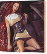 Young Woman In A Crashed Car Wood Print