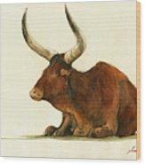 Zebu Cattle Art Painting Wood Print