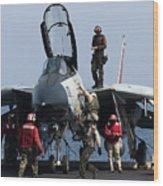 An F-14d Tomcat On The Flight Deck Wood Print by Gert Kromhout