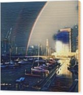 Docklands Double Rainbow Wood Print
