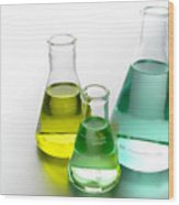 Laboratory Equipment In Science Research Lab Wood Print