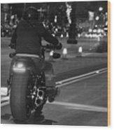Motorcycles On Main Wood Print