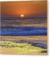 Sunrise Seascape And Rock Platform Wood Print