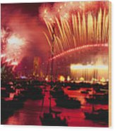 20 Tons Of Fireworks Explode Wood Print