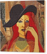 200 - Woman With Black Hat .... Wood Print