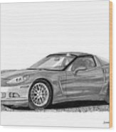 Corvette Roadster, Silver Ghost Wood Print