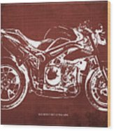 2011 Speed Triple Triumph Motorcycle Blueprint Red Background Artwork Christmas Gift For Men Wood Print