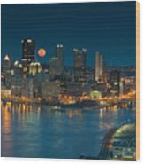 2011 Supermoon Over Pittsburgh Wood Print