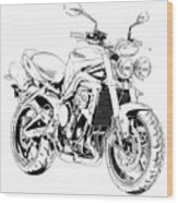 2011 Triumph Street Triple, Black And White Motorcycle Wood Print