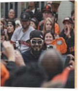 2012 San Francisco Giants World Series Champions Parade - Sergio Romo - Dpp0007 Wood Print by Wingsdomain Art and Photography