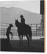 201208107-047k Cowgirls Preparing To Ride 2x3 Wood Print
