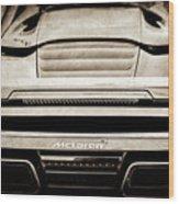 2015 Mclaren 650s Spider Rear Emblem -0011s Wood Print