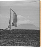 2017 Heineken Regatta Sailing Past Saba Saint Martin Sint Maarten Red Sail Black And White Wood Print