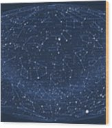 2017 Pi Day Star Chart Hammer/aitoff Projection Wood Print