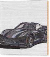 2017 Triple Black Corvette Wood Print
