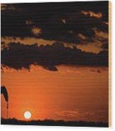 2017_08_midkiff Tx_ Sunset Pump Jack 3 Wood Print