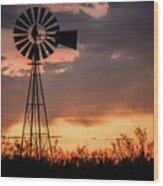 2017_09_midland Tx_windmill 7 Wood Print