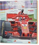 2018 Australian Gp Ferrari Sf71h Vettel Winner  Wood Print