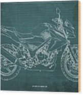 2018 Honda Cb300f Abs Blueprint Green Background Wood Print