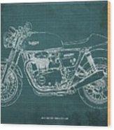 2018 Triumph Thruxton 1200 Blueprint Green Background Wood Print