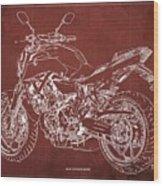 2018 Yamaha Mt-07 Blueprint - Red Background Wood Print