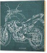 2018 Yamaha Mt07 Blueprint Green Background Fathers Day Gift Wood Print