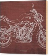 2018 Yamaha Mt07 Blueprint  Red Background Fathers Day Gift Wood Print