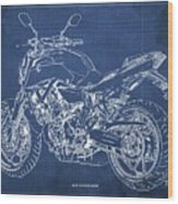 2018 Yamaha Mt07,blueprint,blue Background,fathers Day Gift, 2018 Wood Print