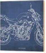 2018 Yamaha Mt07,blueprint,blue Background,fathers Day Gift Wood Print