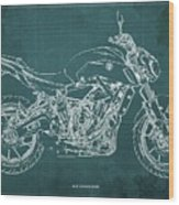 2018 Yamaha Mt07,blueprint,green Background,fathers Day Gift,2018 Wood Print
