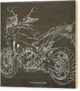 2018 Yamaha Tracer 900gt Blueprint Brown Background Two Wheels Move The Soul Wood Print